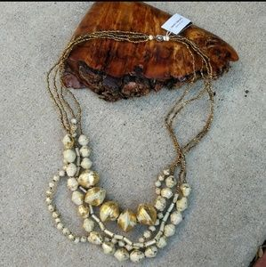 NWT 31 Bit Anthropologie beige gold paper abstract